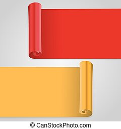 Vector illustration of gold and red scrolls. Golden and red banner
