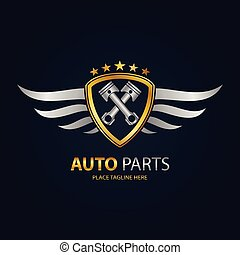 Gold automotive shield with silver wings icon