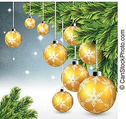 Gold christmas ball hanging on pine