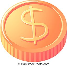 Vector illustration of gold coin with dollar sign