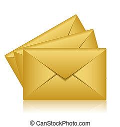 Vector illustration of gold envelopes