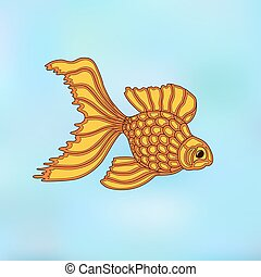 Vector illustration of gold fish. Line art design