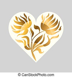 vector illustration of gold flame heart