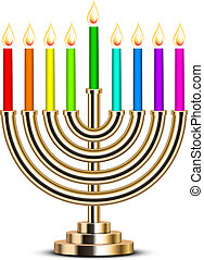 gold Hanukkah menorah - Vector illustration of gold Hanukkah...