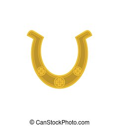 Vector illustration of gold horseshoe with clover