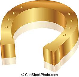 gold horseshoe - Vector illustration of gold horseshoe