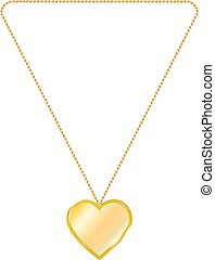 Vector illustration of gold jewelry in the form of heart on...