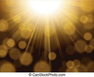 Gold lights shining with bokeh
