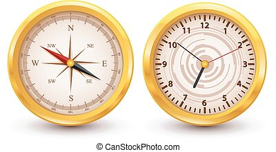 Gold luxury Clock and Compass