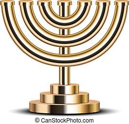 gold menorah - Vector illustration of gold menorah (emblem ...