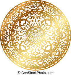 gold oriental rug / napkin - Vector illustration of gold...