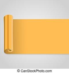 Vector illustration of gold scroll. Golden banner