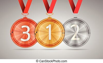 Vector illustration of gold, silver and bronze medal