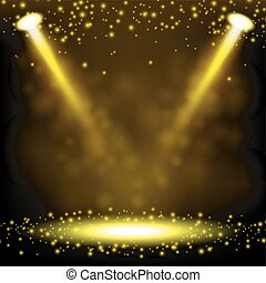 Gold Spotlight shining - Vector Illustration Of Gold...