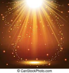 Gold spotlight shining