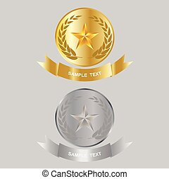 star - Vector illustration of gold star and silver star...