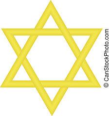 star of David - Vector illustration of gold star of David
