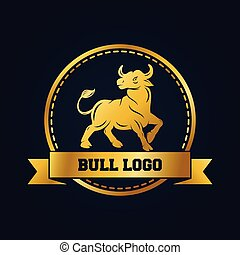 Golden bull icon design template. Gold bull with ribbon and round frame on black background
