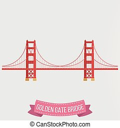 Golden Gate Bridge icon on white background - Vector...