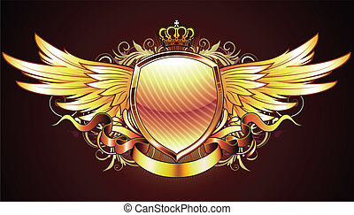Vector illustration of golden heraldic shield or badge with two wings, crown, banner and floral elements