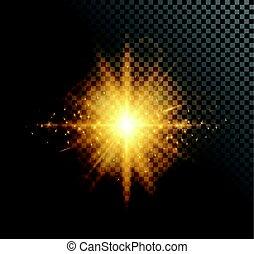 Vector illustration of golden light