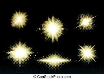 Vector illustration of golden lights set