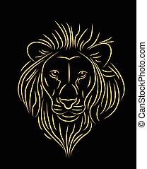 vector illustration of golden lion