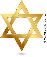 golden Magen David (star of David) - Vector illustration of ...