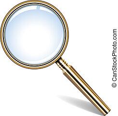 golden magnifying glass - Vector illustration of golden ...