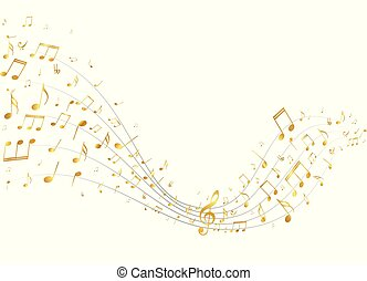 Golden music notes background