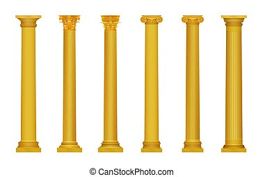 Vector illustration of golden realistic high detailed greek roma ancient columns. Luxury gold column.