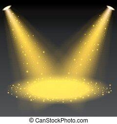 Golden spotlights shining on transparent background