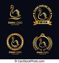 Golden swans icon set collection