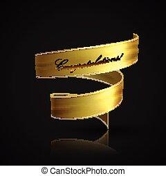 vector illustration of golden textile ribbon