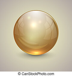 Vector illustration of gold transparent globe on light background