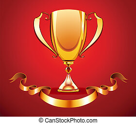 golden trophy - Vector illustration of golden trophy with...