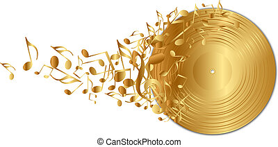 golden vinyl record with notes - Vector illustration of ...