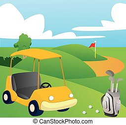 Golf Course - Vector illustration of Golf Course in Cartoon...