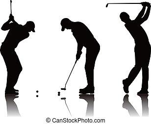 golfer - vector illustration of  golfer silhouette