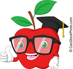 Graduation red apple in the character shape