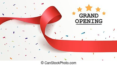 Grand opening background with red ribbon