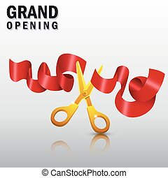 Grand opening with red ribbon and gold scissors