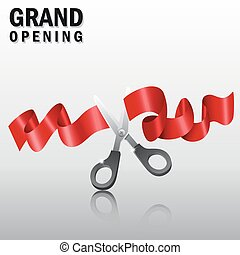 Grand opening with red ribbon