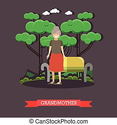 Vector illustration of grandmother in flat style