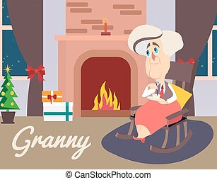 Vector illustration of granny sitting in armchair near fireplace
