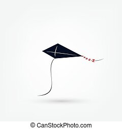 vector illustration of graphic kite. Isolated black icon on white background