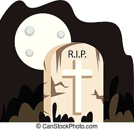 Vector illustration of grave stone under a full moon on a white background.