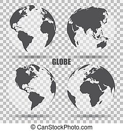 Vector Illustration of gray globe icons with different continents. Transparent background. Realistic shadow. Maps of different countries
