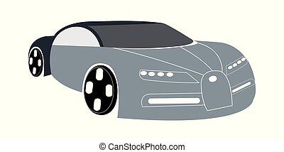 Vector illustration of gray super car - Dark blue super car...