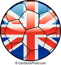 Great Britain flag on soccer ball - vector illustration of...